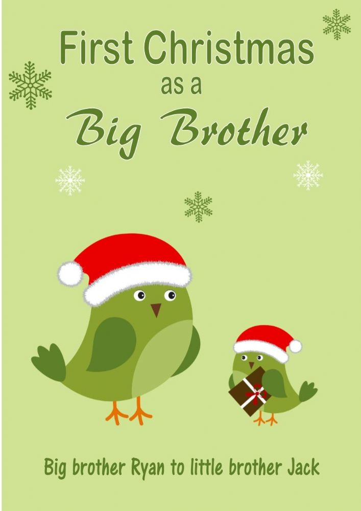 Personalised Big Brother To Little Brother Christmas Card